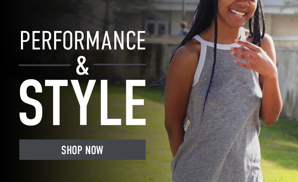 Picture of woman. Click to shop Performance & Style.